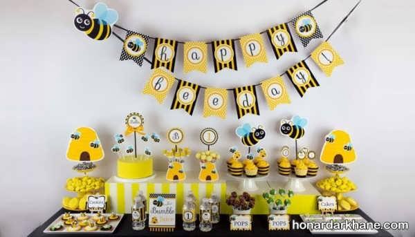 انواع تزیینات جالب تولد با تم زنبور عسل