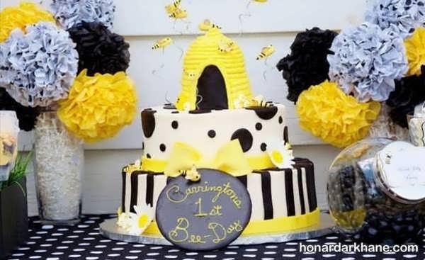 انواع ایده های جذاب تزیینات تولد با طرح زنبوری