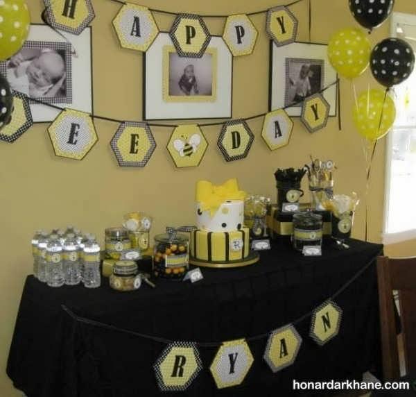 انواع ایده های جدید تزیینات تولد با طرح زنبوری