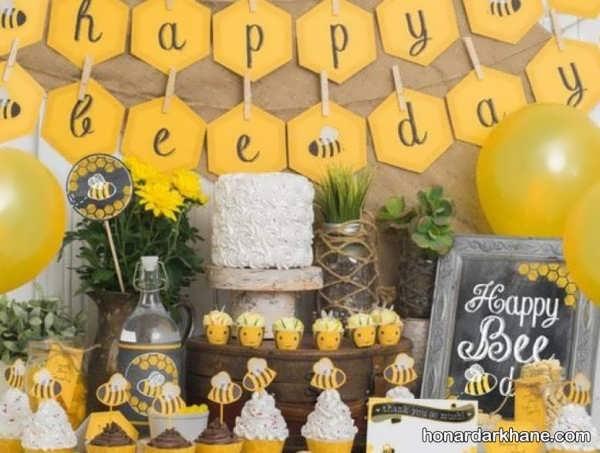 مدل های جذاب دیزاین تولد با تم زنبور عسل
