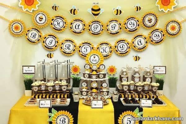انواع ایده های جذاب تزیینات تولد با طرح زنبور عسل