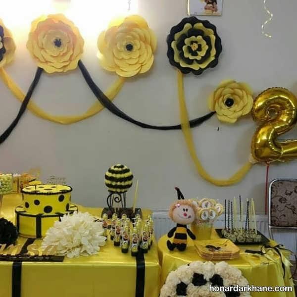 انواع ایده های خاص دیزاین تولد با طرح زنبوری