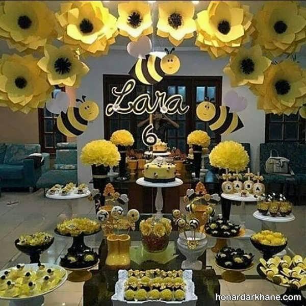انواع تزیینات خاص تولد با طرح زنبور عسل