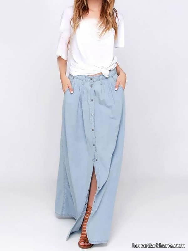 مدل های جدید و جالب ست لباس با دامن بلند