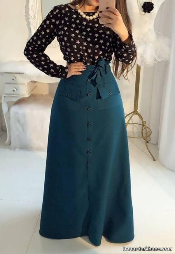 مدل های جذاب هماهنگ کردن لباس با دامن بلند