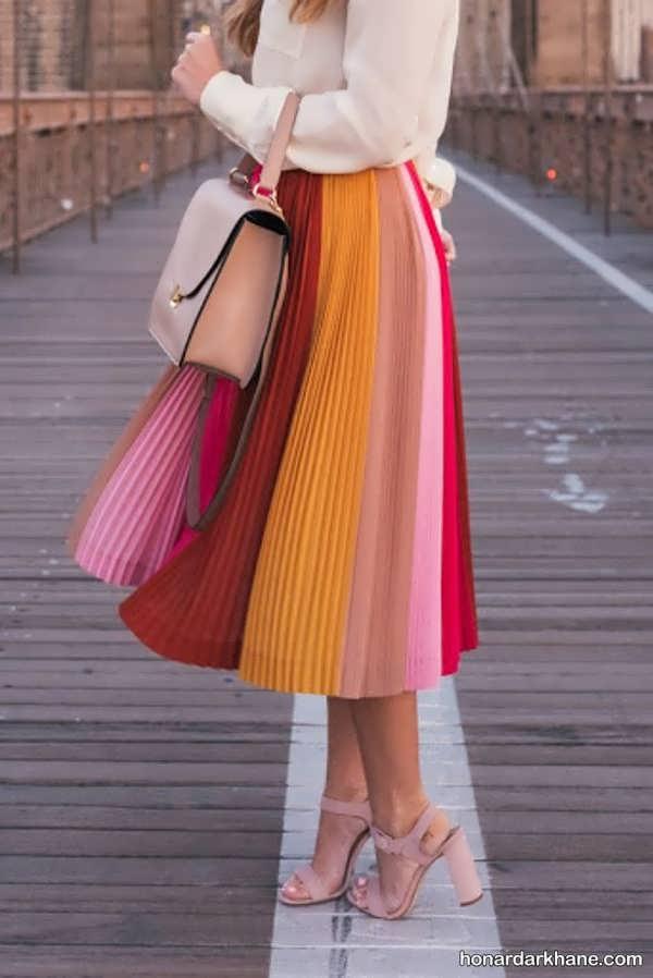 انواع هماهنگ کردن جالب لباس با دامن بلند