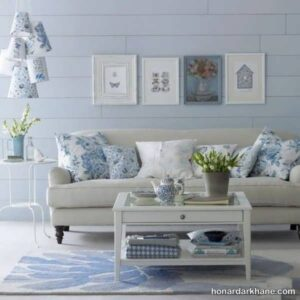 انواع دیزاین شیک و منحصر به فرد دیوار با تابلو