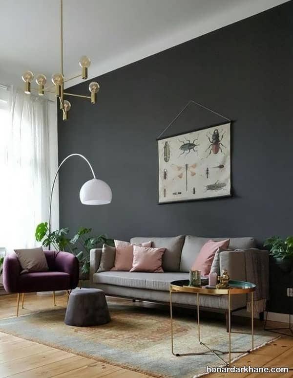 انواع دیزاین شیک دیوار با تابلو