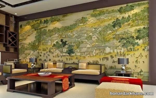 انواع ایده های جدید دیزاین دیوار با تابلو