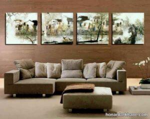 انواع دیزاین شیک و جالب دیوار با تابلو