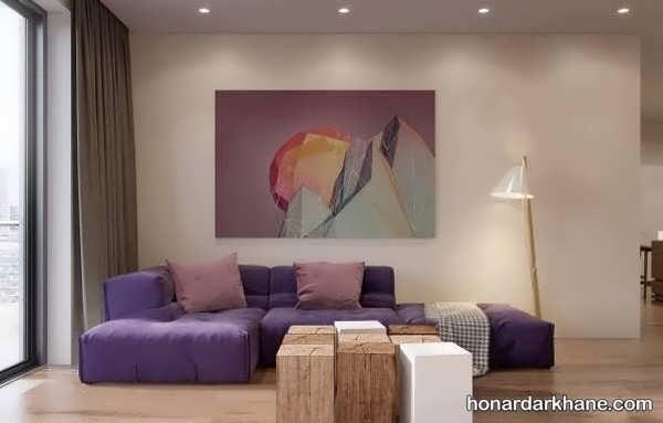 انواع دیزاین شیک و جذاب دیوار با تابلو