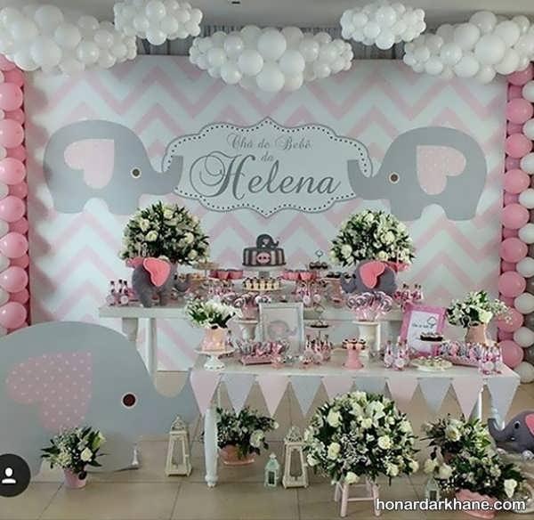 انواع مدل های جذاب دیزاین تولد با طرح فیل کوچک