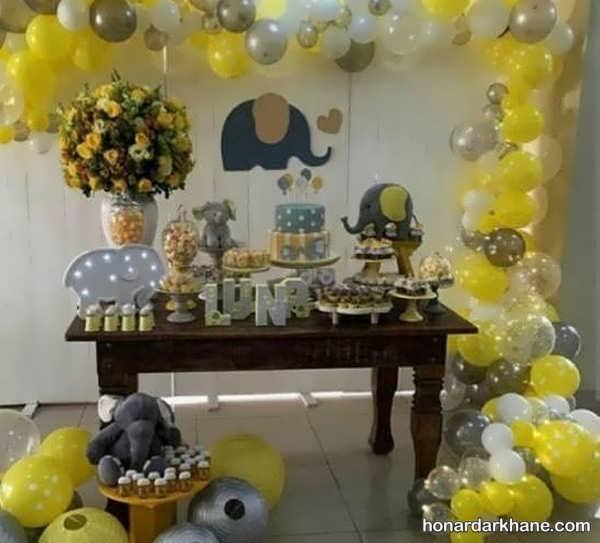 انواع دیزاین خلاقانه مراسم تولد با زمینه فیل کوچک