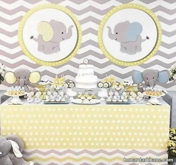 انواع تزیینات جذاب تولد با تم فیل کوچک