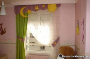 انواع طرح های شیک پرده اتاق کودک