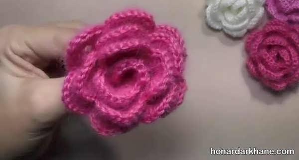 شیوه درست کردن گل بافتنی با قلاب