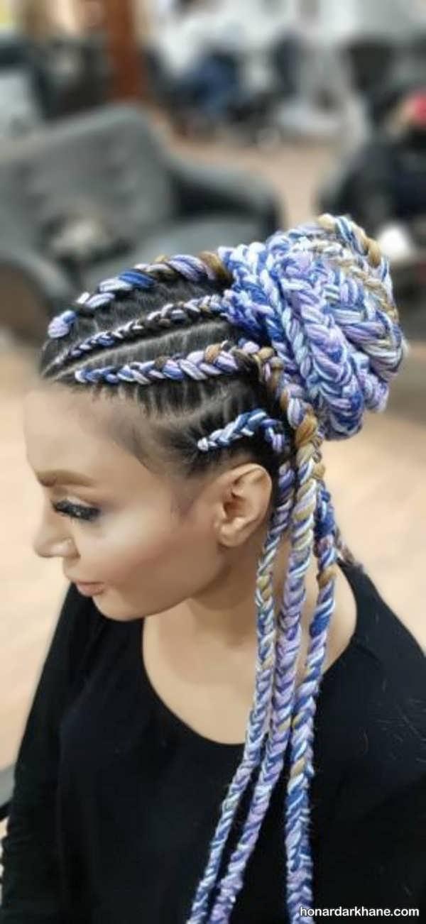 نحوه بافتن مو با کامواهای رنگی