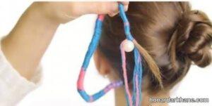 نحوه بافتن مو با کاموای رنگی