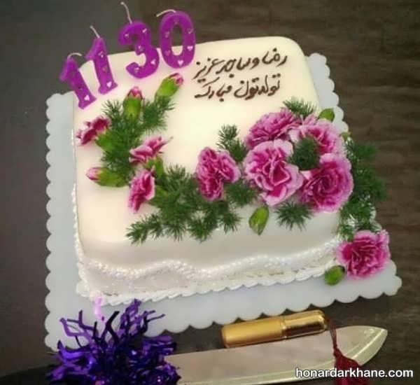انواع دیزاین جذاب کیک تولد با گل