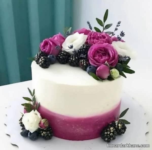 انواع دیزاین جالب کیک تولد با گل