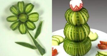 مدل های متنوع و شیک میوه آرایی با خیار