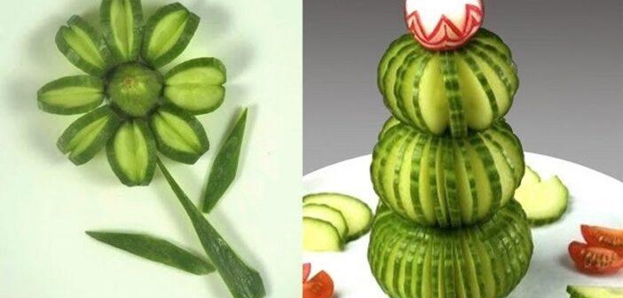 میوه آرایی با خیار با ۳۰ ایده و تزیین زیبا و متفاوت