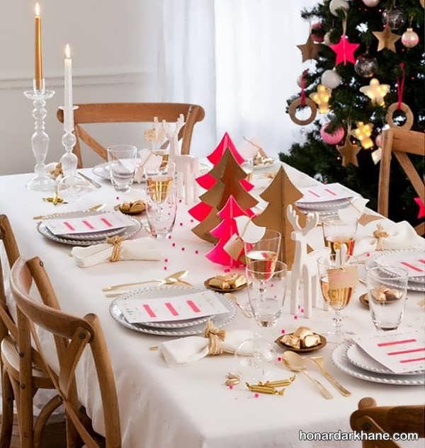 تزیینات شیک و جالب میز کریسمس