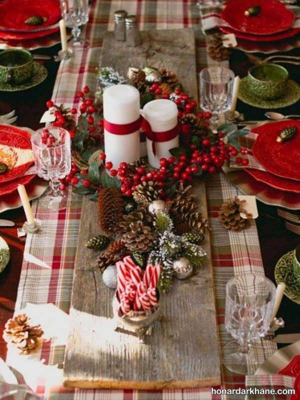 تزیین میز کریسمس با ایده های جالب