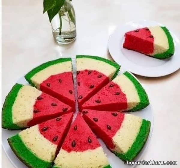 دستور پخت کیک هندوانه ای برای شب یلدا