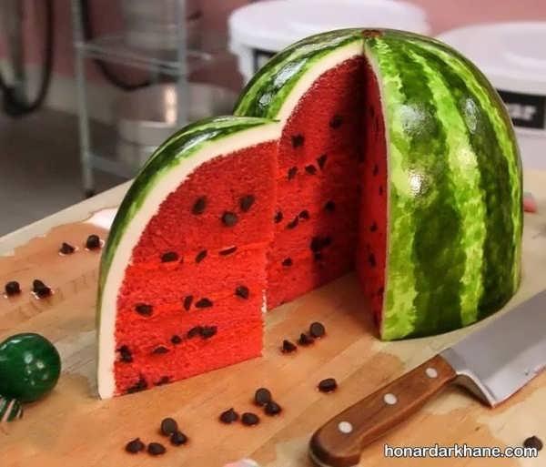 انواع ایده های خلاقانه تزیینات کیک هندوانه ای