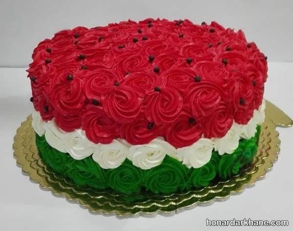 انواع تزیینات خلاقانه کیک هنداونه ای
