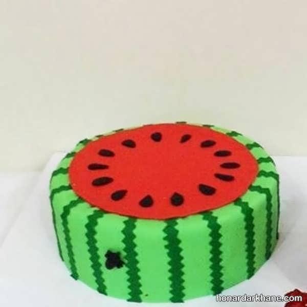 انواع دیزاین زیبا و جدید کیک هندوانه ای