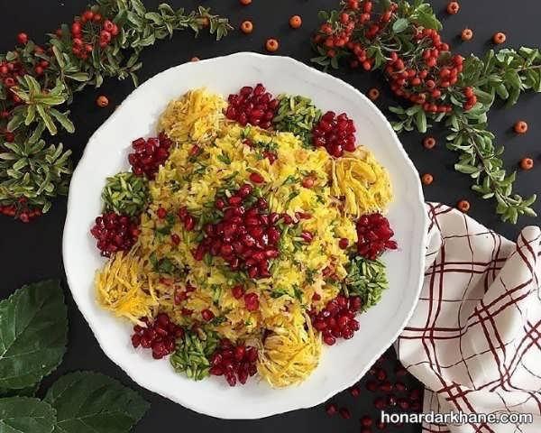 طریقه پخت انار پلو برای شب یلدا
