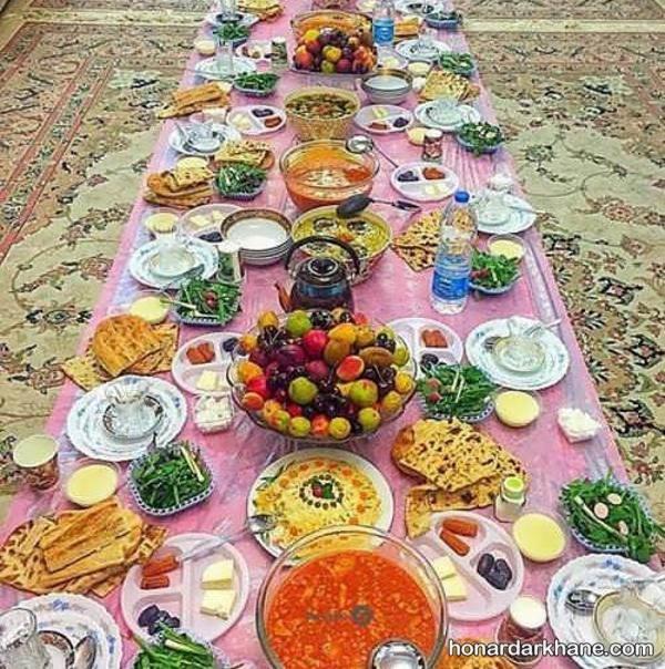چیدن سفره افطار برای ماه رمضان
