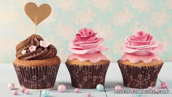 تزیین کاپ کیک با گل
