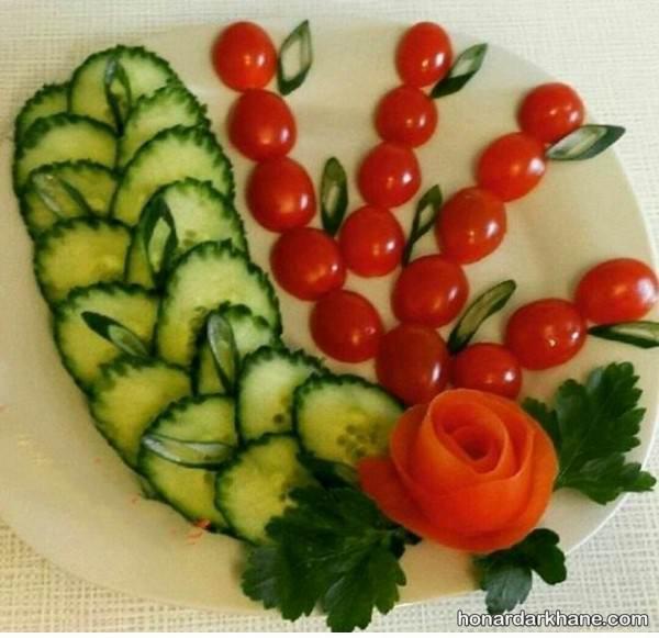 تزیین گوجه به شکل گل رز