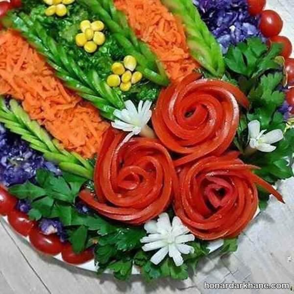 تزیین زیبای سالاد با گوجه