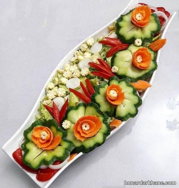 تزیین خیار به شکل گل