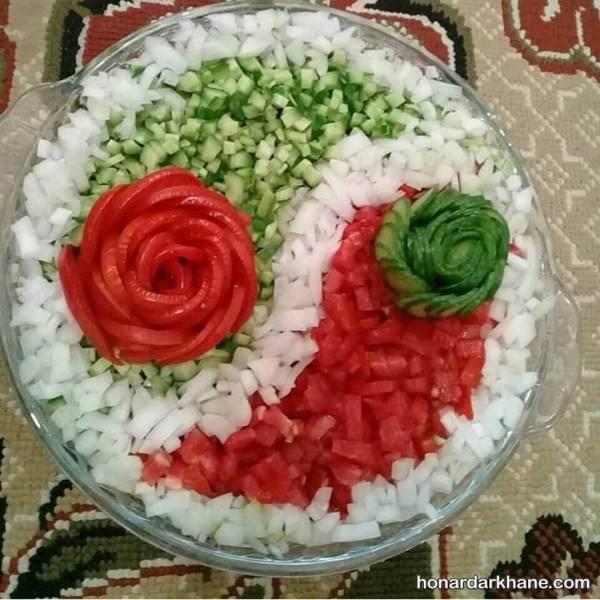 تزیین سالاد شیرازی برای مهمان
