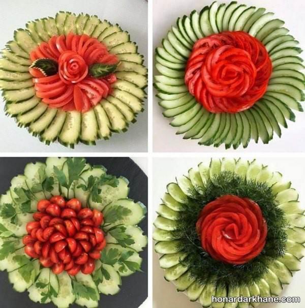 تزیین خیار و گوجه مجلسی