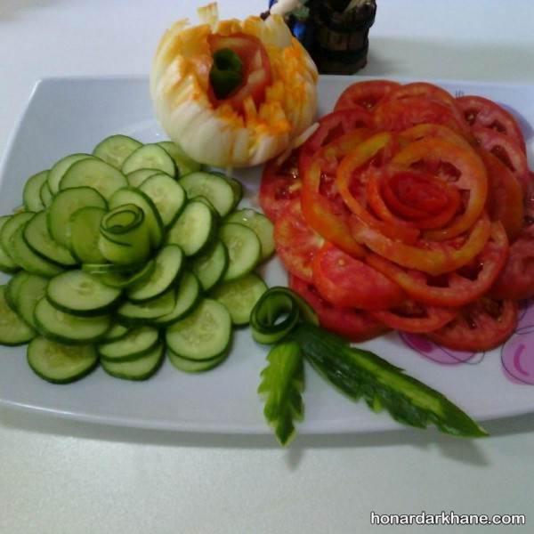 تزیین گوجه و خیار به شکل گل رز